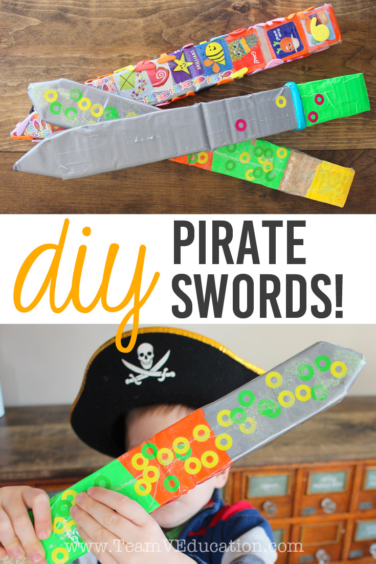 DIY Pirate Swords are perfect for kids who love imaginary play and all things pirates, knights, and fairytales. These can even be made by using scraps of materials from around the home. A great child-led learning activity.