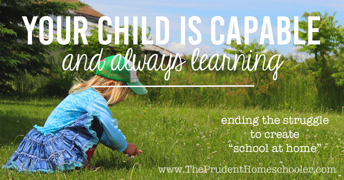 "End the struggle to create ""school at home."" Recognize that learning happens naturally with very little help from us! Learn to walk alongside your children as they soak in the world around them. 