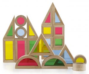 These clear rainbow window blocks by Guidecraft are a fun addition to building with other wooden blocks.